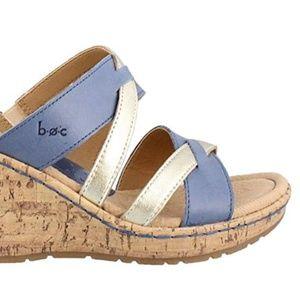 Born VIVARA Navy Gold Wedge Heel Sandals